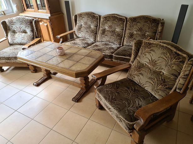 Sofa kanapa dębowa fotele ława