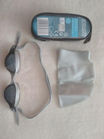 Zestaw - okularki pływackie oraz czepek. Nowy, nieużywany.