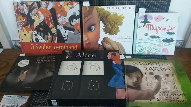 Livros juv. Alice, Migrando, irmãos Grimm, Neil Gaiman, sr. Ferdinand