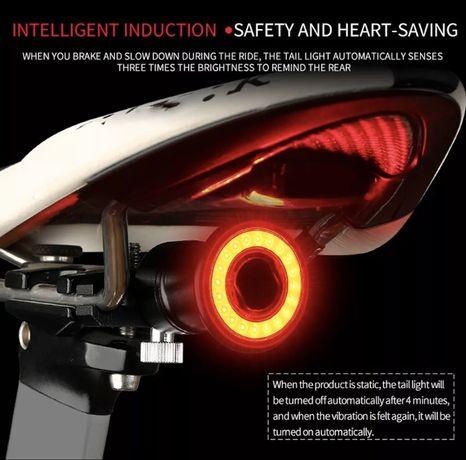 Luz traseira inteligente para bicicleta, Led