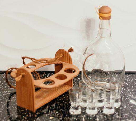 Karafka z kieliszkami 6szt, zestaw, komplet do wódki na prezent drewno