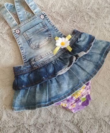 68-74-80 (3-6-9м) Нарядное платье джинсовый сарафан песочник комплект