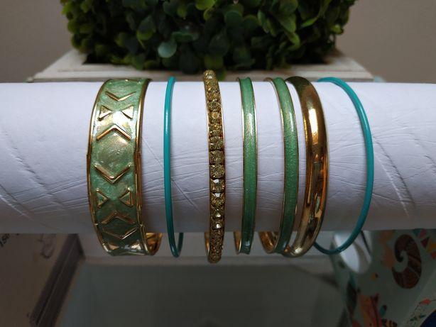 7 Zestaw bransoletek turkusowy komplet bransoletki sztuczna biżuteria