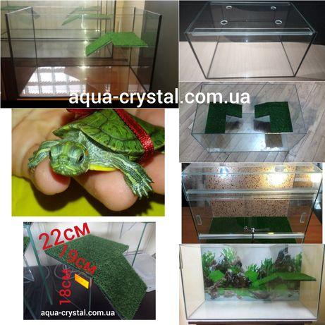 Новый террариум, аквариум, островок, грот для черепах, черепахи, агамы