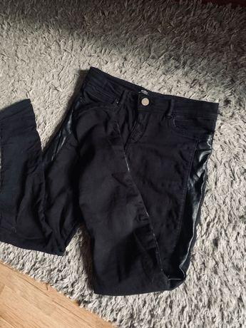 Spodnie czarne rurki lampasy skórzane