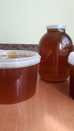 Продам мед з власної пасіки гречка+подсолнух,ціна  1л -120 грн,3л-350.