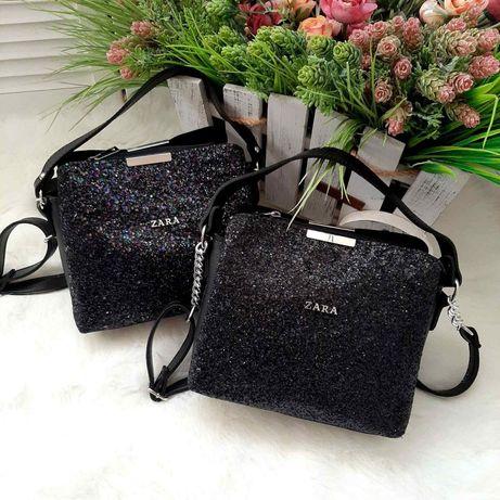 Жіноча сумка-клатч ZARA з гліттером.Женский клатч с глиттером.Код-1122