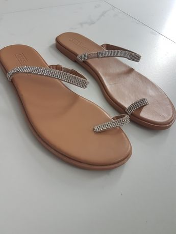 klapki / sandały ASOS r. 38 srebrne cyrkonie nude