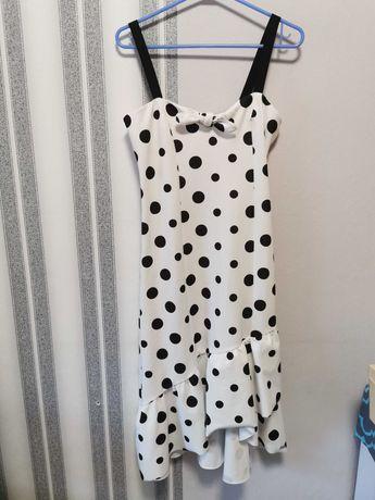 Biała sukienka w groszki mohito