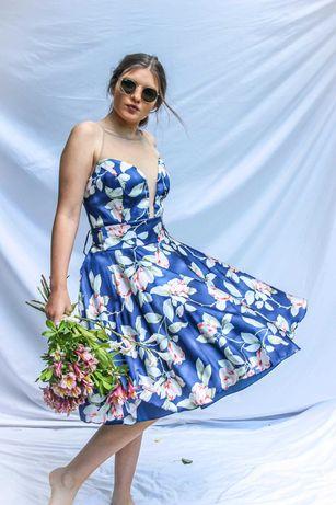 Vestido floral curto ideal para casamentos, batizados e eventos
