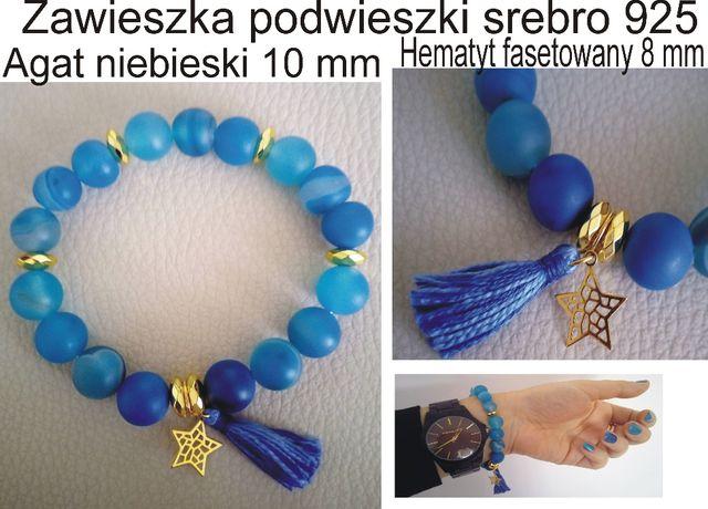 Bransoletka niebieski agat/hematyt 10 mm srebro 925 złoto 24 karaty