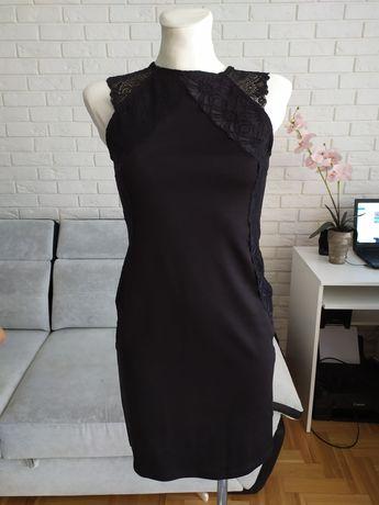 Czarna sukienka z koronką s