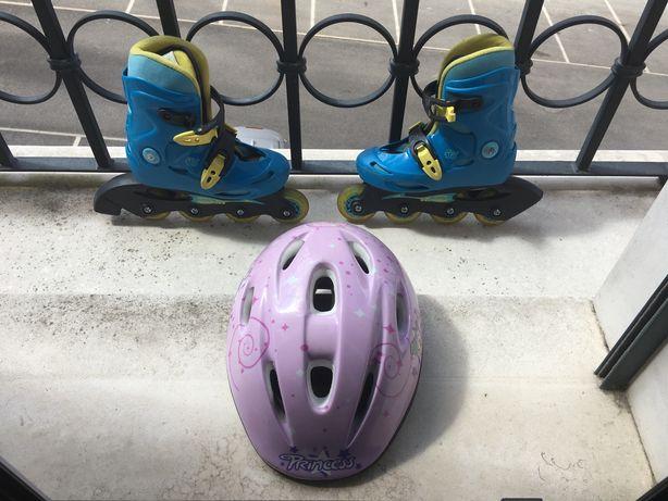 Patins em linha e capacete ( Tamanho 30 )