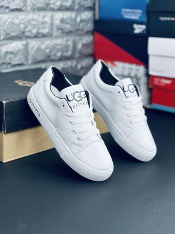 UGG Australia Кожаные белые кроссовки Угг Новинка Угі кросівки шкіряні