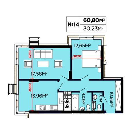 2-к квартира 61 м2 з виглядом на Високий замок ЖК Щасливий. Поруч ліс