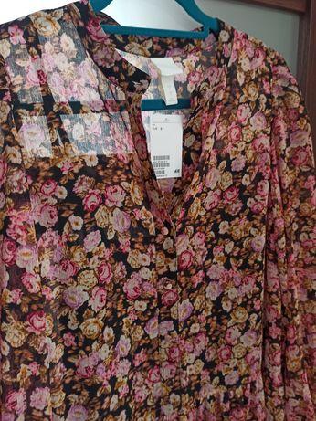 Długa sukienka w różyczki hm