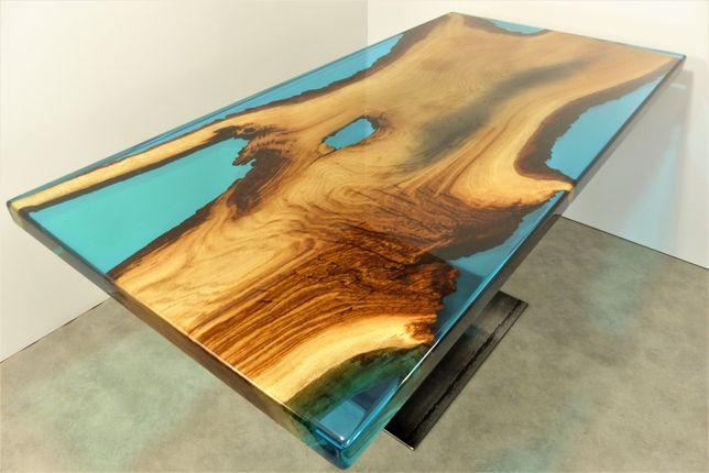 Stół Żywica Epoksydowa Lite Drewno Dąb Wild Wood