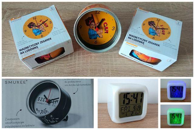 komplet 4 szt. cyfrowy zegarek budzik świecąca kostka + zegarek magnes