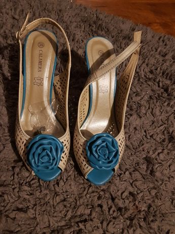 Sandałki turkisowo-bezowo-ecri