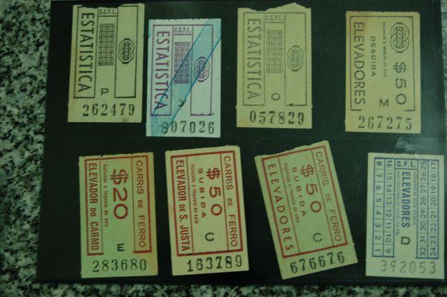 8 Bilhetes da carris de Estatística e de elevadores raros