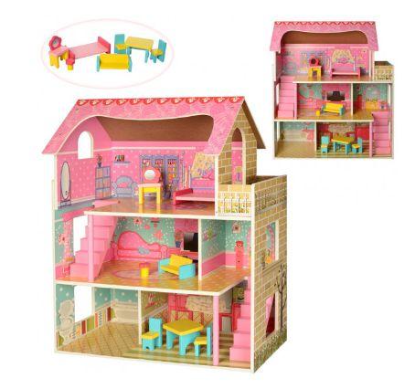 Деревянный домик для кукол Барби, Лол и других Игровой домик 3 этажа