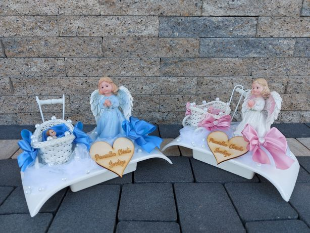 Pamiątka Chrztu z aniołkiem dla chłopca dziewczynki Chrzest upominek
