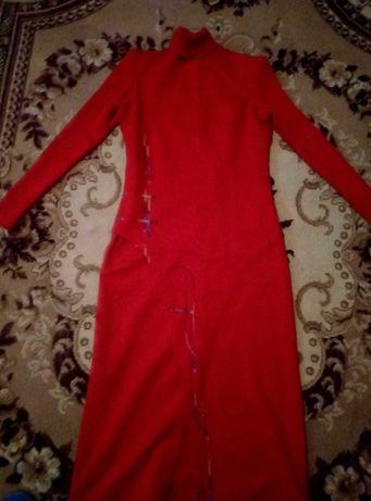 Платье красное макси, длинное