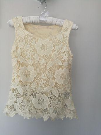 Bluzka koronkowa, top, kremowy, ecru, rozmiar S/M
