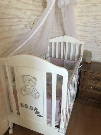 Кроватка Azzurra design мишка белая Италия