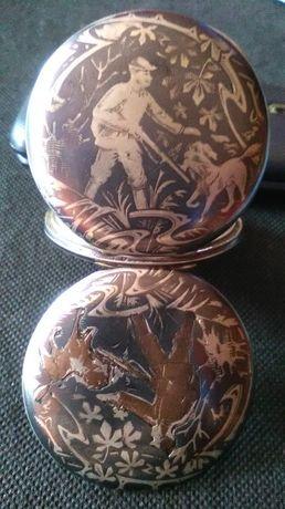 srebra-srebro antyk zegarek kieszonkowy Ancre Extra 1878 i dewizka.