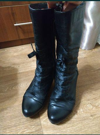 Сапоги демисезонные кожаные женские 38 размер