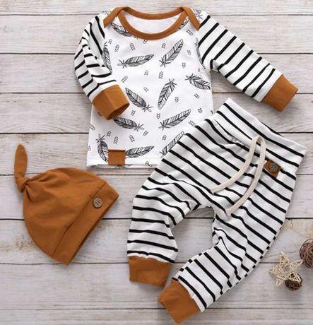 Conjunto de 3 peças para bebé em algodão de mangas compridas   (Novo)