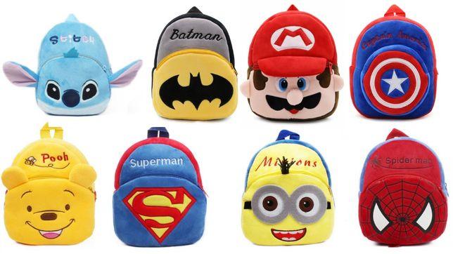 Детский плюшевый рюкзак для мальчика Batman Spiderman Superman Minions