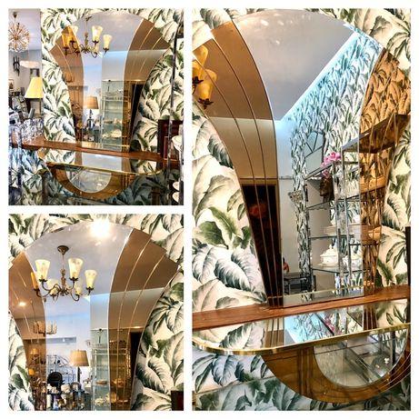 Designerskie krysztalowe lustro 130/115 art deco 1970r