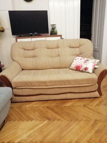 Sofa materiałowa z funkcją spania + Fotel z materiału