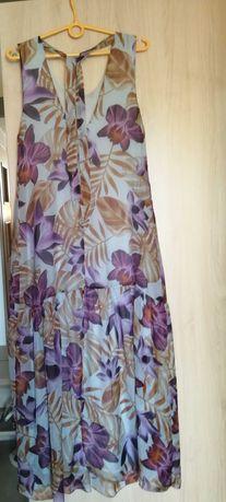 lekka sukienka maxi, zwiewna, w kwiaty, jedwab z wiskozą