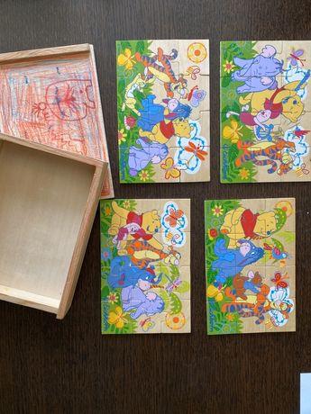 Drewniane puzzle z Kubusiem Puchatkiem w pudełku 4x12 części