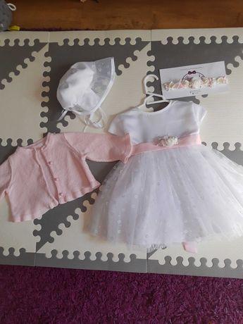 Sukienka opaska komplet zestaw ubranko do chrztu na chrzest roz. 68 74