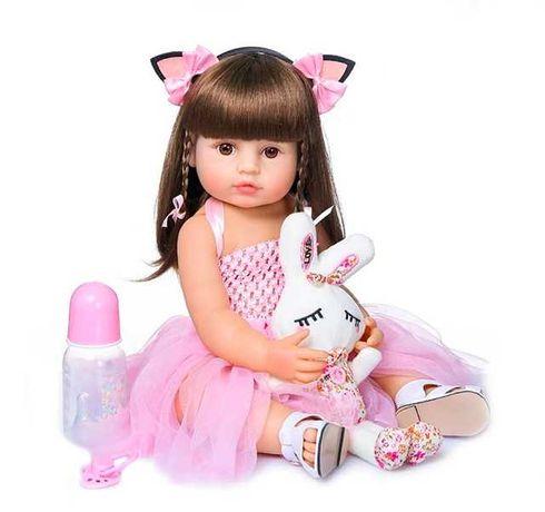 Красива лялька реборн 55 см з довгим волоссям