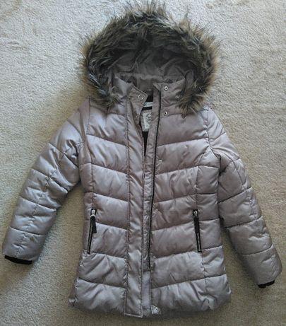 kurtka zimowa dziewczęca 152 cm beżowa z odpinanym kapturem