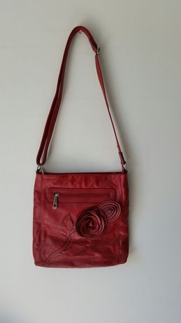 Torebka torba listonoszka na ramię elegancka czerwona bordowa kwiaty