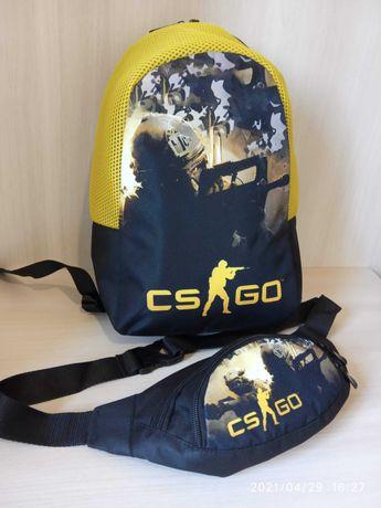 Рюкзак для школьника и бананка набор CS GO КС ГО