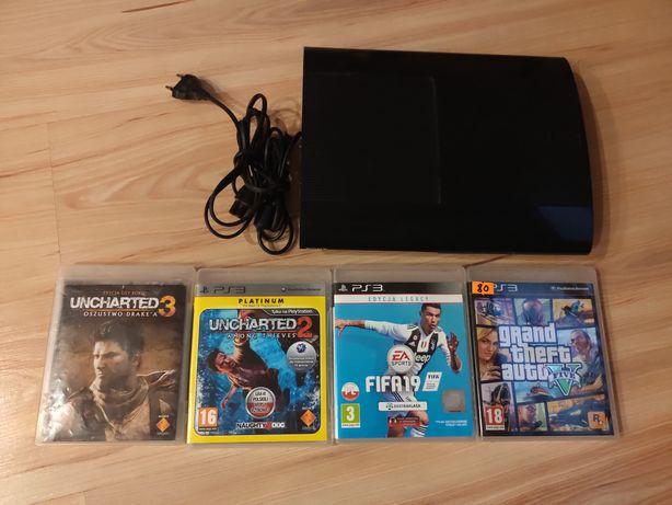 Konsola PlayStation 3 super slim 500Gb + 4 gry