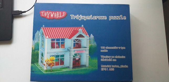 Trójwymiarowe puzzle, domek do składania.