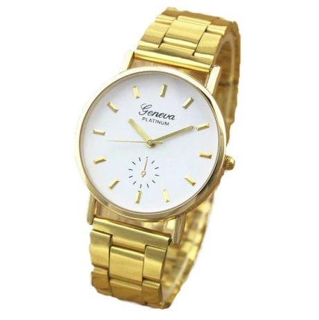 NOWY Zegarek damski Bransoleta Złoty Metal Biała Tarcza Geneva OKAZJA