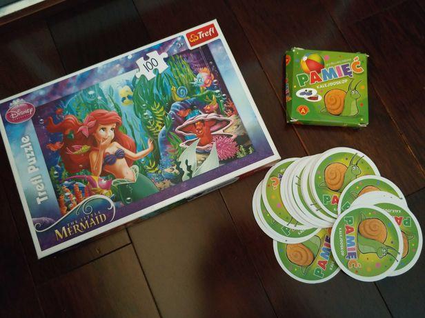 Zestaw puzzle z Małą Syrenką marki Trefl plus gra na pamięć