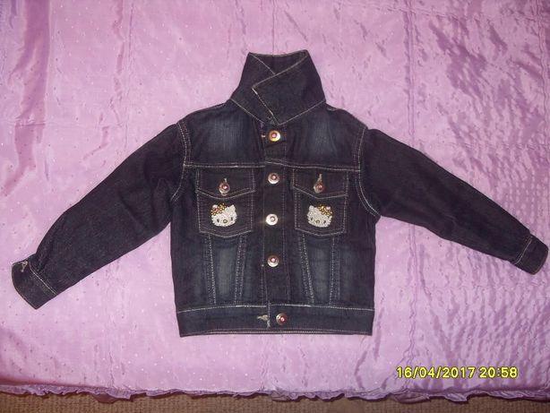 Нова джинсова курточка Hello Kitty на дівчинку