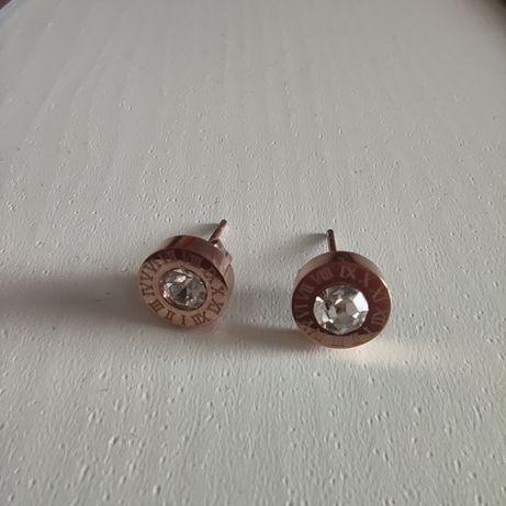 Kolczyki różowe złoto cyrkonie