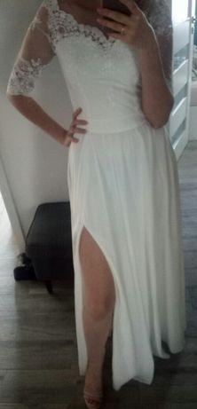Lila biała sukienka ślubna ślub cywilny