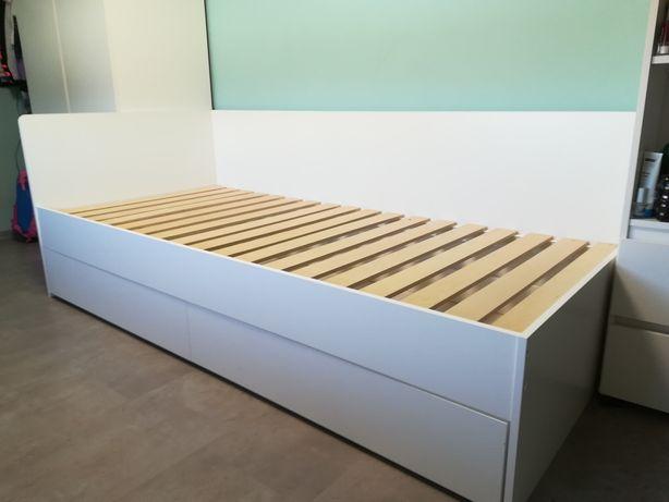 Łóżko młodzieżowe z szufladą białe  200x90